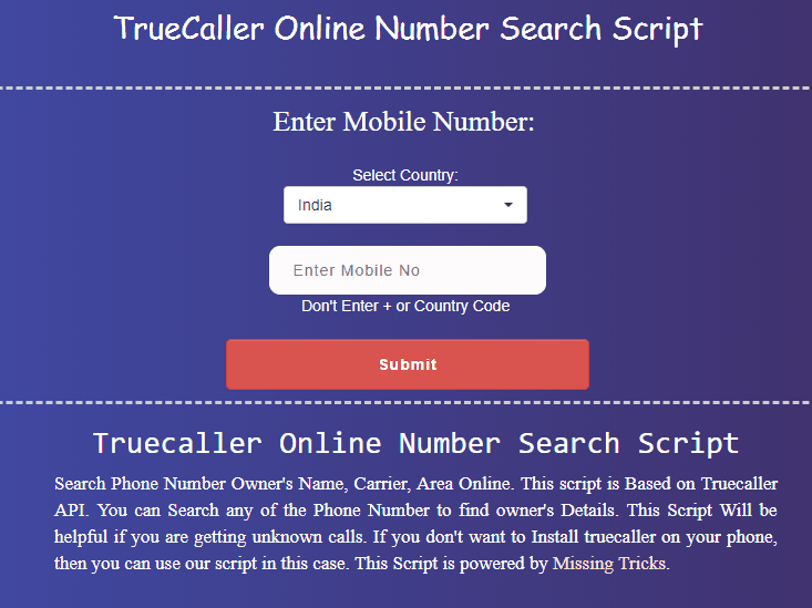 With APK & Software) Missingtricks Truecaller: Search Without Sing In